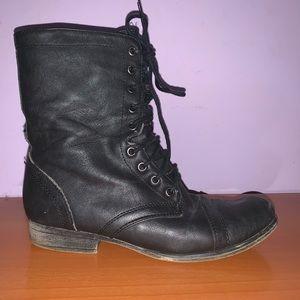 Black Short Combat Boots Lace Up Women's